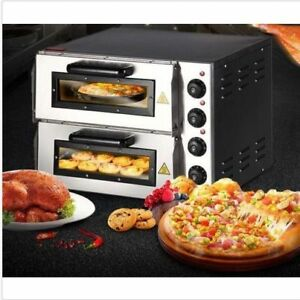 New 220v 16 Double Electric Pizza Oven Commercial Ceramic Stone U