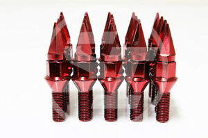 Z Racing 28mm Red Spike Cone Seat Lug Bolts 14x1 5mm For Vw Golf Jetta Audi