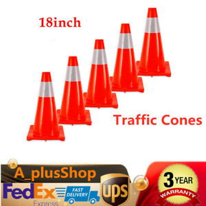 5pcs 18 Road Traffic Cones Red Reflective Road Safety Parking Cones Usa Stock