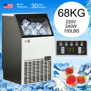 Stainless Steel 68kg 150lbs Auto Ice Cube Maker Machine Commercial 240w 220v Wcv