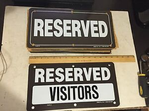 24 New Painted Heavy Aluminum 14 By 7 Reserved Visitors Business Parking Signs