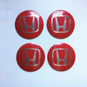 Car Wheel Center Hub Caps Stickers Badges Emblems H Red Curved 4pcs 56mm 56