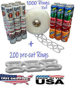 1000 Count Roll 200 Cut 6 pack Rings Universal Fit Fits 12oz Beer Soda Cans