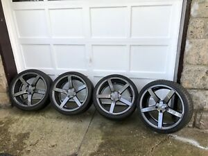 19 Vossen 5 Spoke Rims Wheels With Tires Staggered 265 30 19 235 35 19 Like New