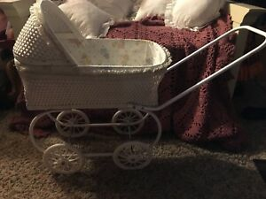 Vintage Wicker Wood Baby Doll Carriage Buggy