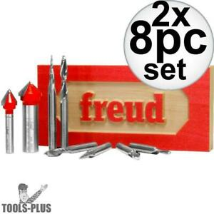Freud 87 108 8 Piece Cnc Router Bit Signmaking Set 2x New
