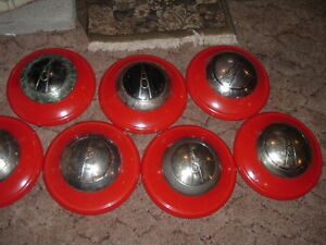 7 Vintage Ford Hubcabs Dog Dish Poverty Hubcaps