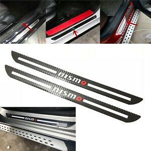 2pcs Nismo Carbon Car Door Scuff Sill Cover Plates Panel Step Protector Sticker