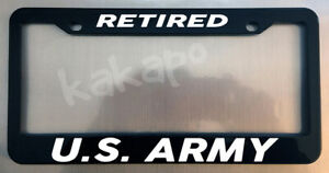 Retired Us Army Glossy Black License Plate Frame