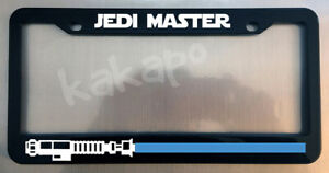 Jedi Master Blue Lightsaber Obi Wan Glossy Black License Plate Frame Caps
