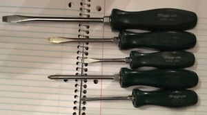 Snap On 5 Pc Screwdriver Set Green Handle Free Shipping