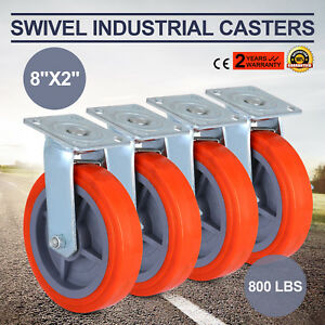 4pcs 8 Swivel Casters Polyurethane Wheel W brake Castor Heavy Duty Ladder