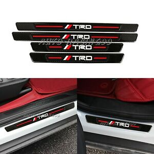 4pcs Trd Carbon Fiber Rubber Car Door Welcome Plate Sill Scuff Cover Panel
