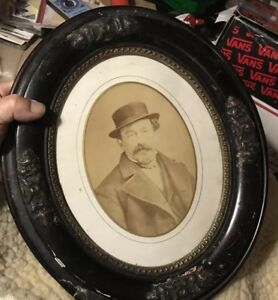 Antique 1880 Fancy Oval 12x14 Wooden Picture Frame W Photo