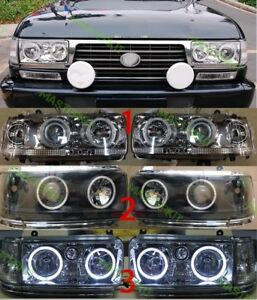 For Toyota Land Cruiser Lc 80 Led Headlights Angel Eyes Lh Rh 1989 1997 2 Pcs