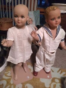 Vintage Male And Female Children Mannequins