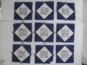Lot Of 9 Mini Quilt Blocks 4 5 Sq Blue And White Antique Miniatures Crafts