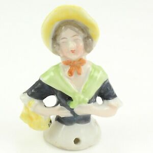 Antique Colorful Painted Porcelain German Half Doll Market Basket Figurine 2 13