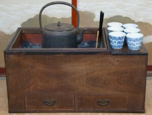 Tea Cabinet Japanese Furniture Brazer Nagahibachi 1900s Japan Tansu