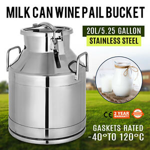 20l 5 25 Gallon Stainless Steel Milk Can With Lid Beer wine Making Heavy Gauge