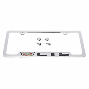 Oem License Plate Frame Chrome W crest Black Cts Logo 14 18 Cadillac 19330363