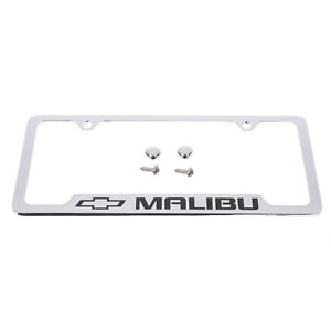 Oem New License Plate Frame Chrome W Black Malibu Logo 14 19 Chevrolet 19330381