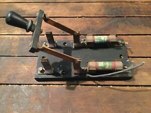 Vintage Electrical Knife Switch With Slate Base Fuses 60 Amp