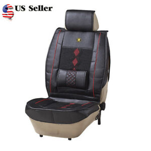1pc Pu Leather Car Seat Cover Cushion Back Support Waist Massage