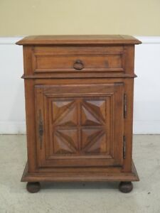 F43811ec Antique French Chestnut 1 Door 1 Drawer Cabinet