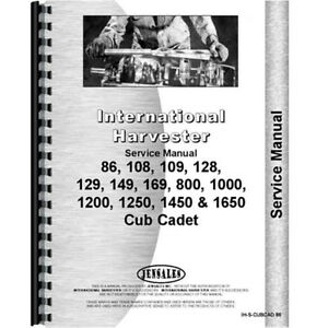 Chassis Only Service Manual For International Harvester Cub Cadet 1450