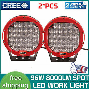 2x 9 Round 96w Cree Led Driving Spot Work Light Offroad Replace Hid Suv 4wd Red