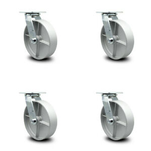 Scc 8 Semi Steel Cast Iron Wheel Swivel Casters Set Of 4