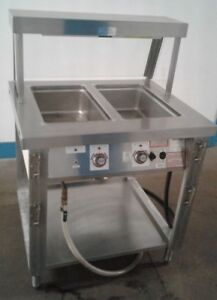 Servolift 2 Well Commercial Food Steam Table W breath Guard Heat Lamp