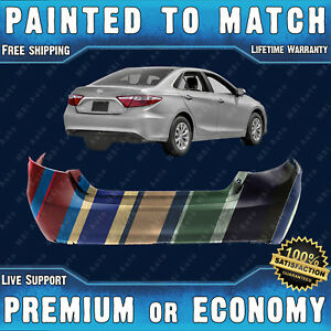 New Painted To Match Rear Bumper Cover For 2015 2017 Toyota Camry W O Park Asst