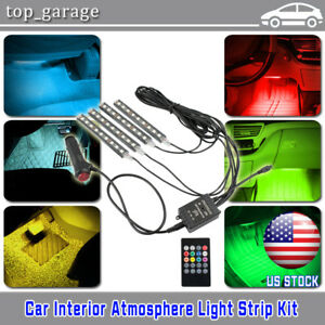 Glow Full Color Led Interior Car Lamp Kit Under Dash Foot Seat Inside Lighting