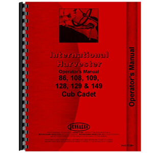New Tractor Operators Manual For International Harvester Cub Cadet 109 Tractor