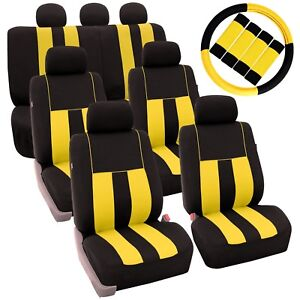Yellow Black 3 Row Suv Car Seat Covers Steering Wheel And Seat Belt Pads