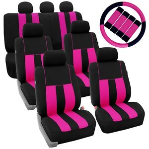 Pink Black 3row Suv Split Bench Car Seat Covers Steering Wheel And Seat Belt Pad