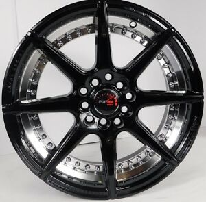 16x7 5x100 Custom Wheels Rims Fits Audi Tt 00 06 Set Of 4 Gloss Black new