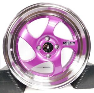 17x7 4x100 Custom Wheels Rims Fits Honda Toyota Acura Set Of 4 Purple New
