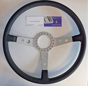 Ferrari Daytona Reproduction Leather Wrapped Steering Wheel With White Stitching