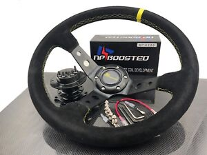Universal 350mm Steering Wheel Suede Leather Yellow Stitch 4 Dish Drift Spec