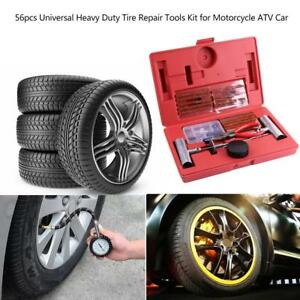56pcs Universal Heavy Duty Tire Repair Tools Kit For Motorcycle Atv Car Jeeps Us