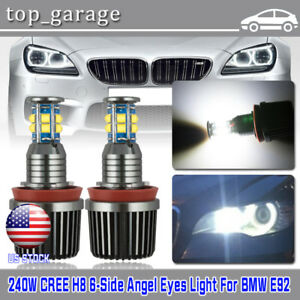 2pcs 120w Cree H8 Led Angel Eyes Halo Ring Light Bulbs White Waterproof For Bmw