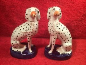 Figurines Antique Staffordshire Spotted Dogs Porcelain Figurines C 18