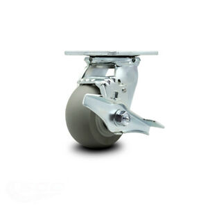 Scc 4 X 2 Thermoplastic Rubber Wheel Swivel Caster W brake 300lbs caster