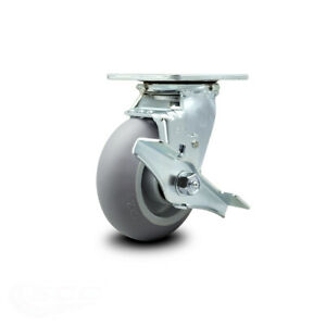 Scc 5 X 2 Thermoplastic Rubber Wheel Swivel Caster W brake 350lbs caster
