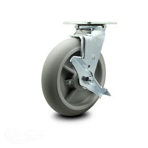Scc 8 X 2 Thermoplastic Rubber Wheel Swivel Caster W brake 600lbs caster