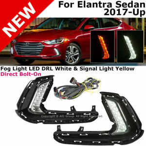 For 17 up Hyundai Elantra Front Bumper Led Clear Turn Signal Drl Fog Light Lamps
