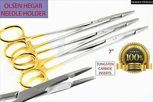 Serrated Golden Rings Tc Olsen Hegar 8 Needle Holder Forceps Lot Of 3 Ce New